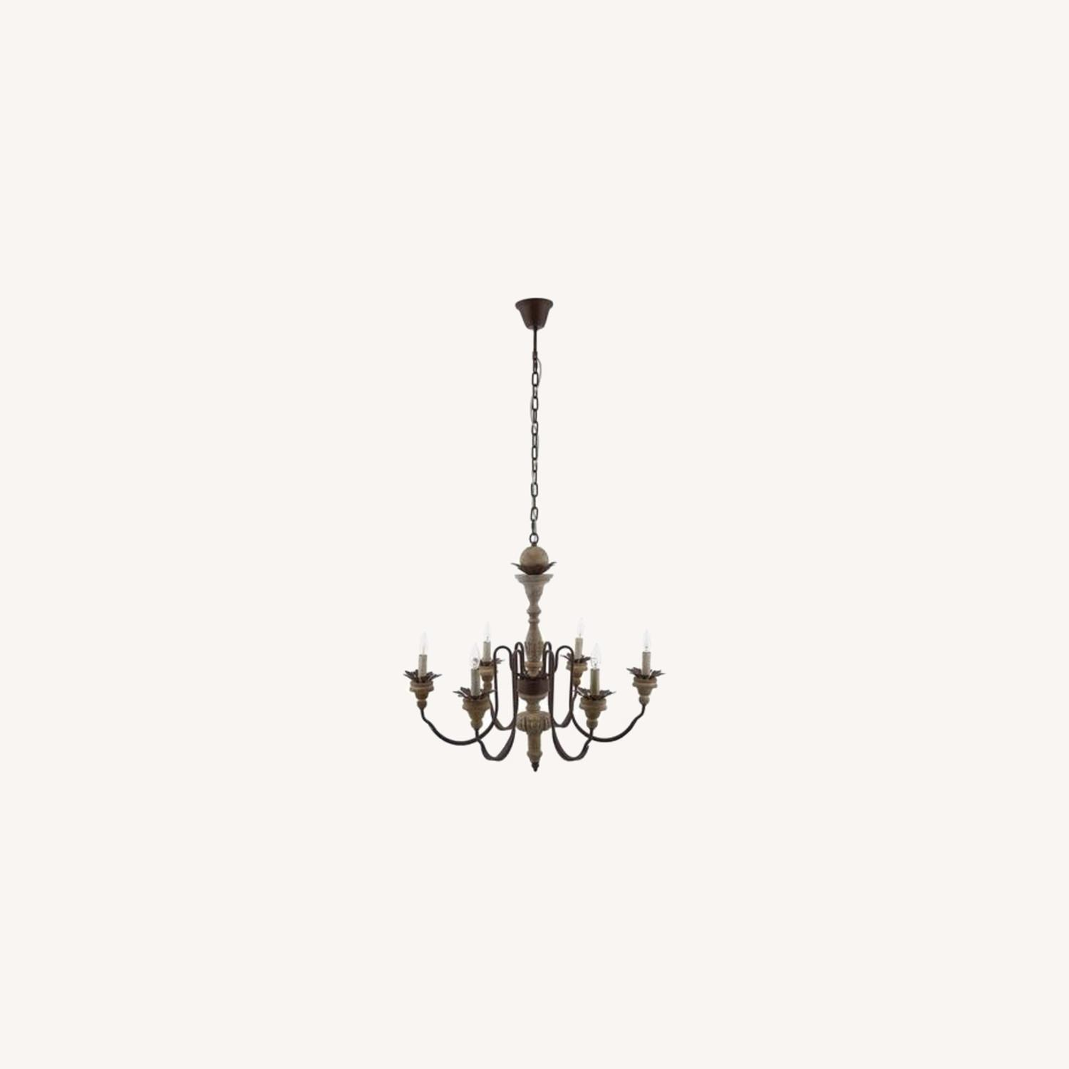 Vintage French Chandelier In Antique Metal Arms - image-4