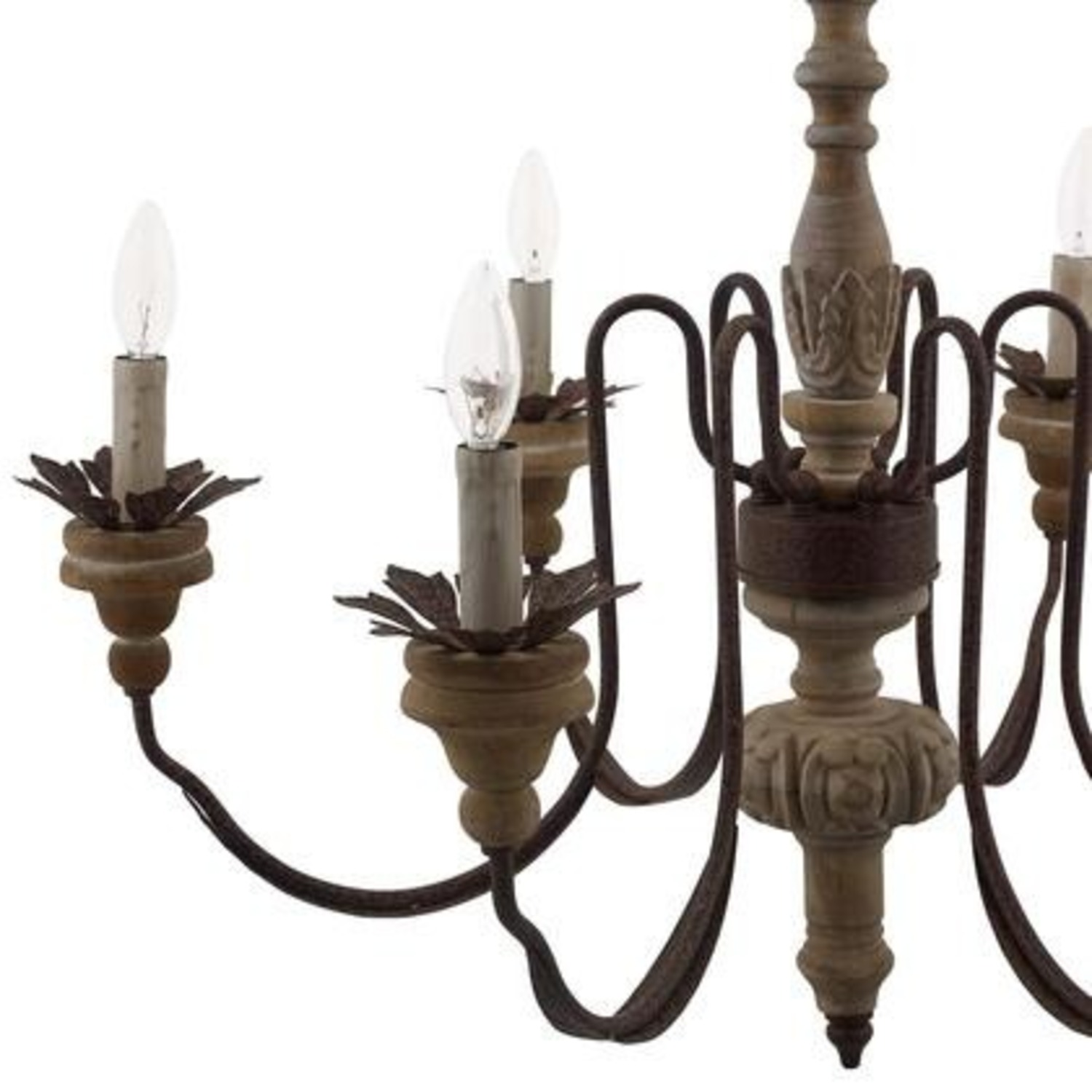 Vintage French Chandelier In Antique Metal Arms - image-2