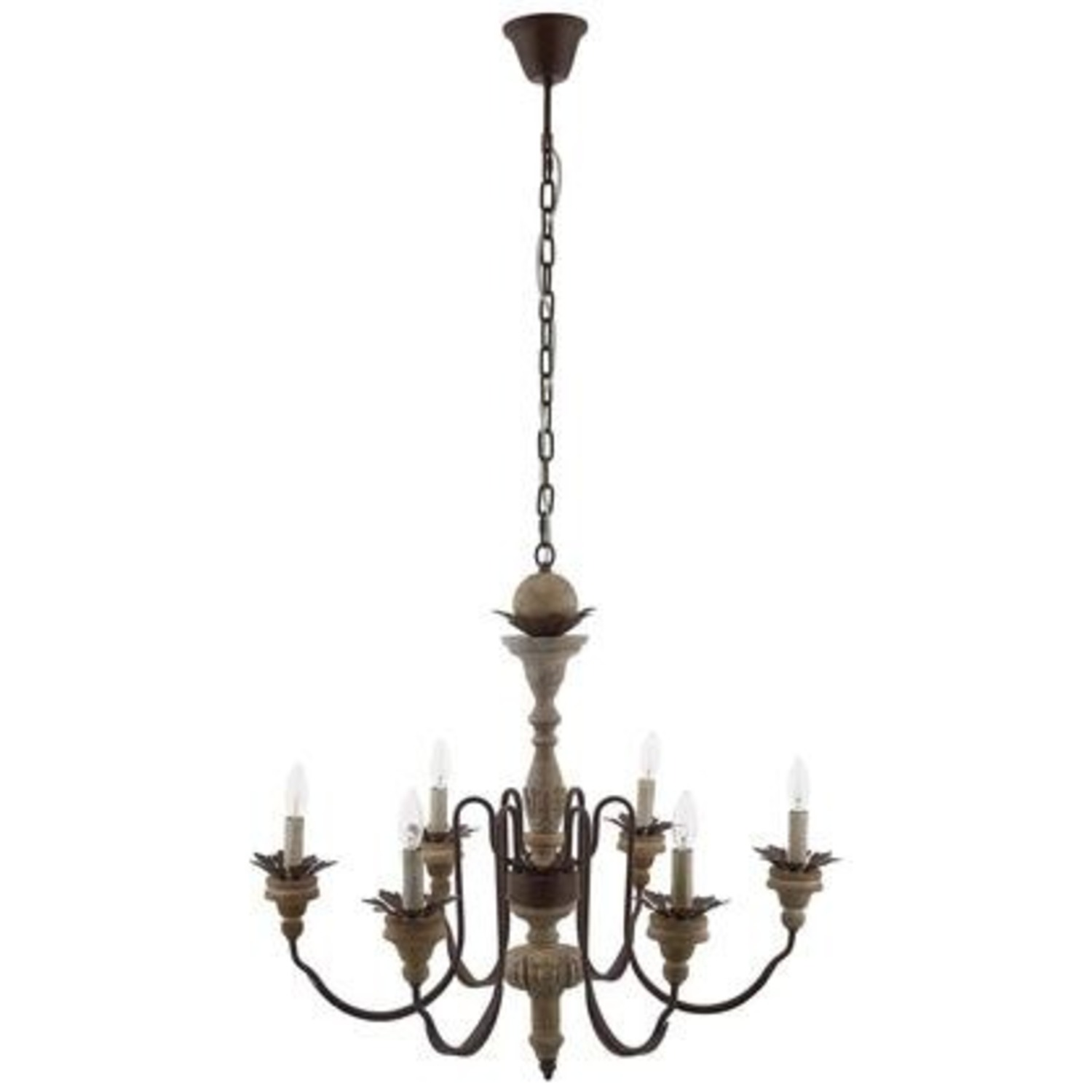 Vintage French Chandelier In Antique Metal Arms - image-0