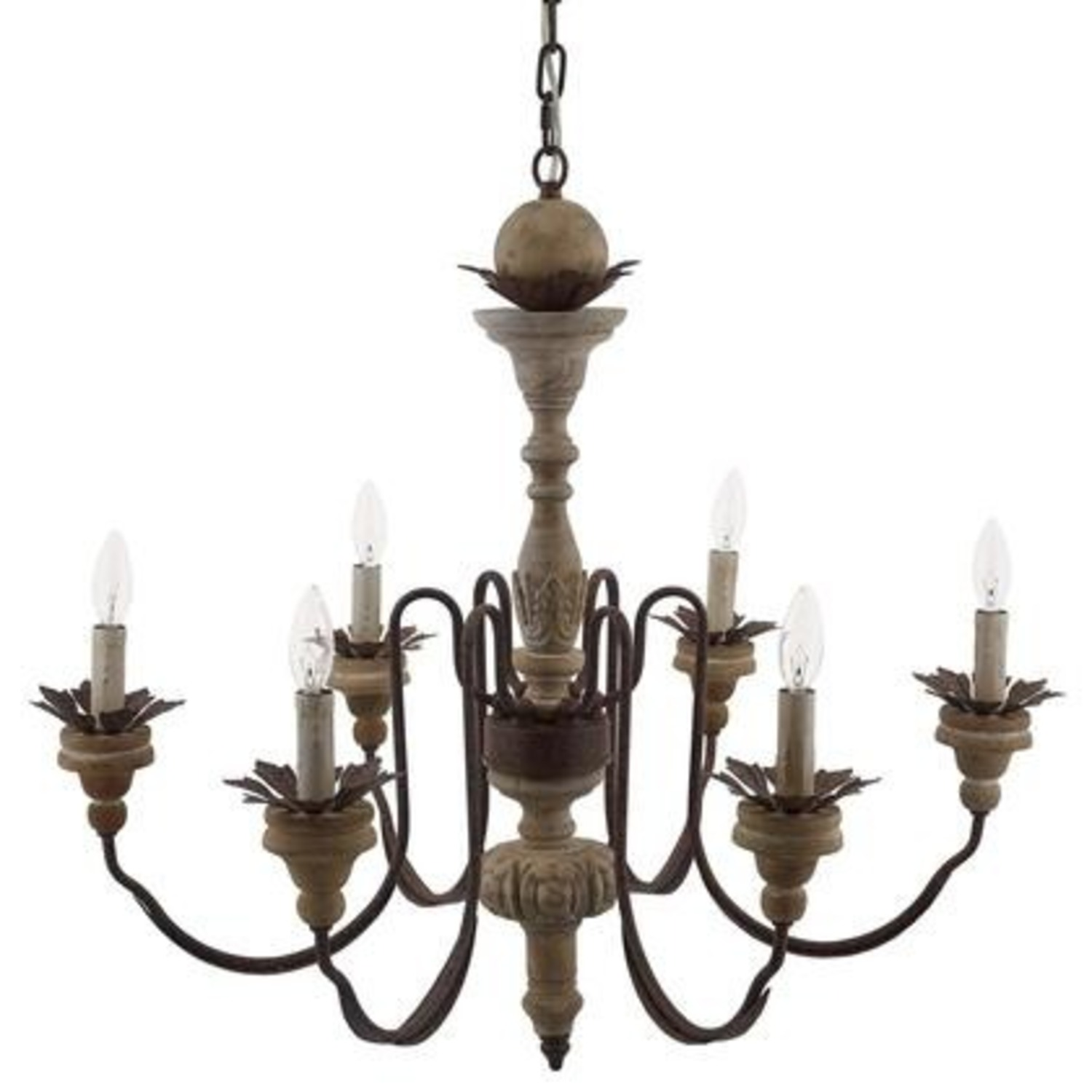 Vintage French Chandelier In Antique Metal Arms - image-1