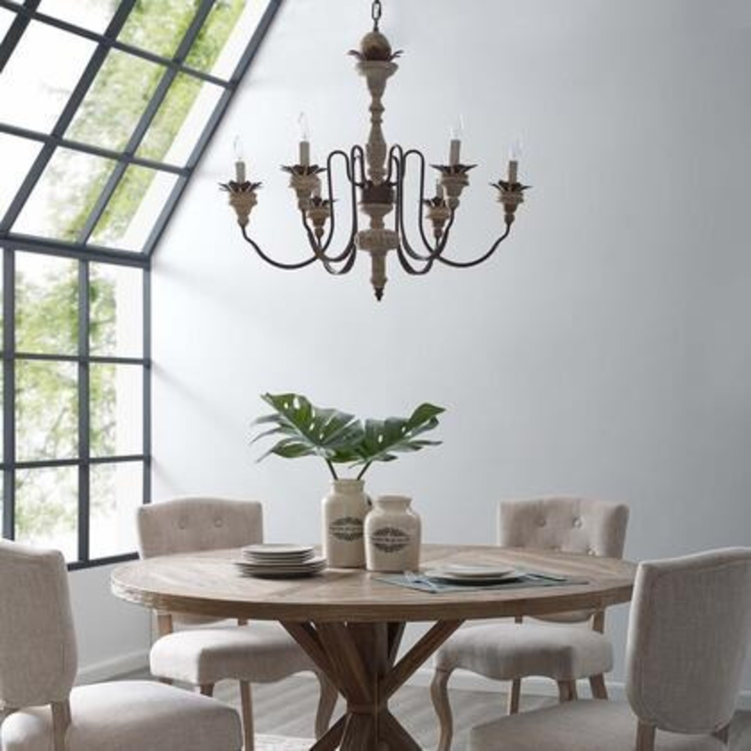 Vintage French Chandelier In Antique Metal Arms - image-3