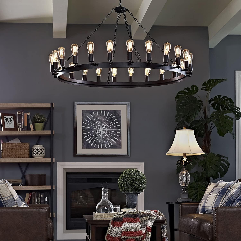 "52"" Chandelier In Brown W/ Adjustable Bulb Holders - image-3"
