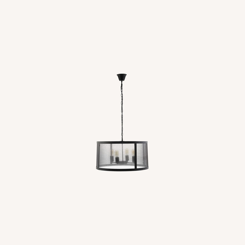Modern Chandelier In Black W/ Plastic Cover - image-5