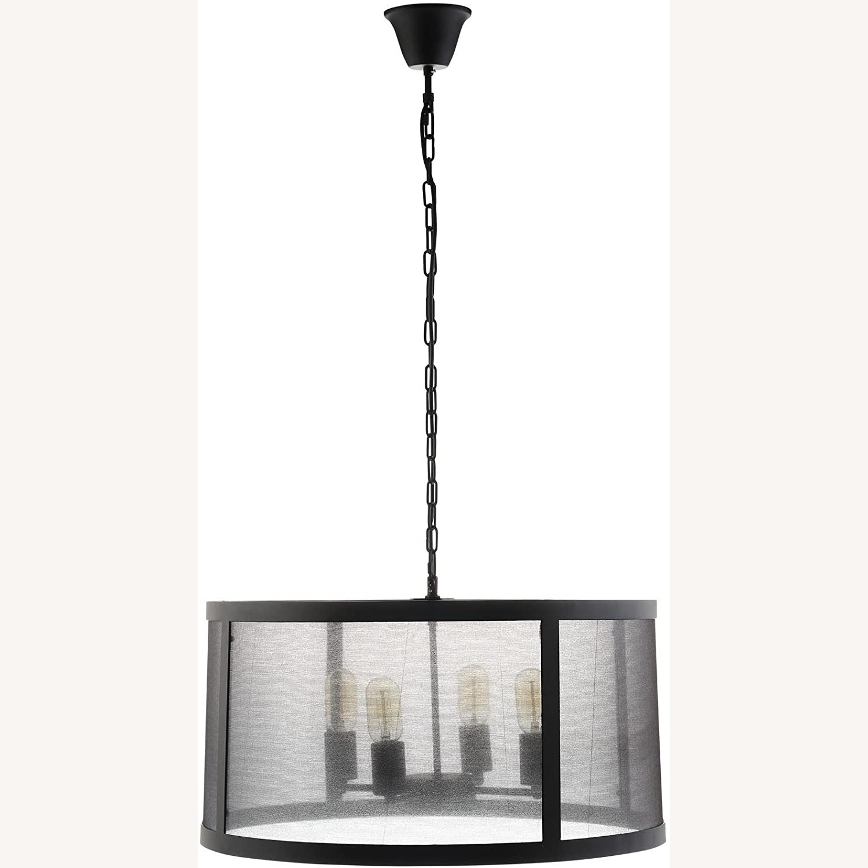 Modern Chandelier In Black W/ Plastic Cover - image-0