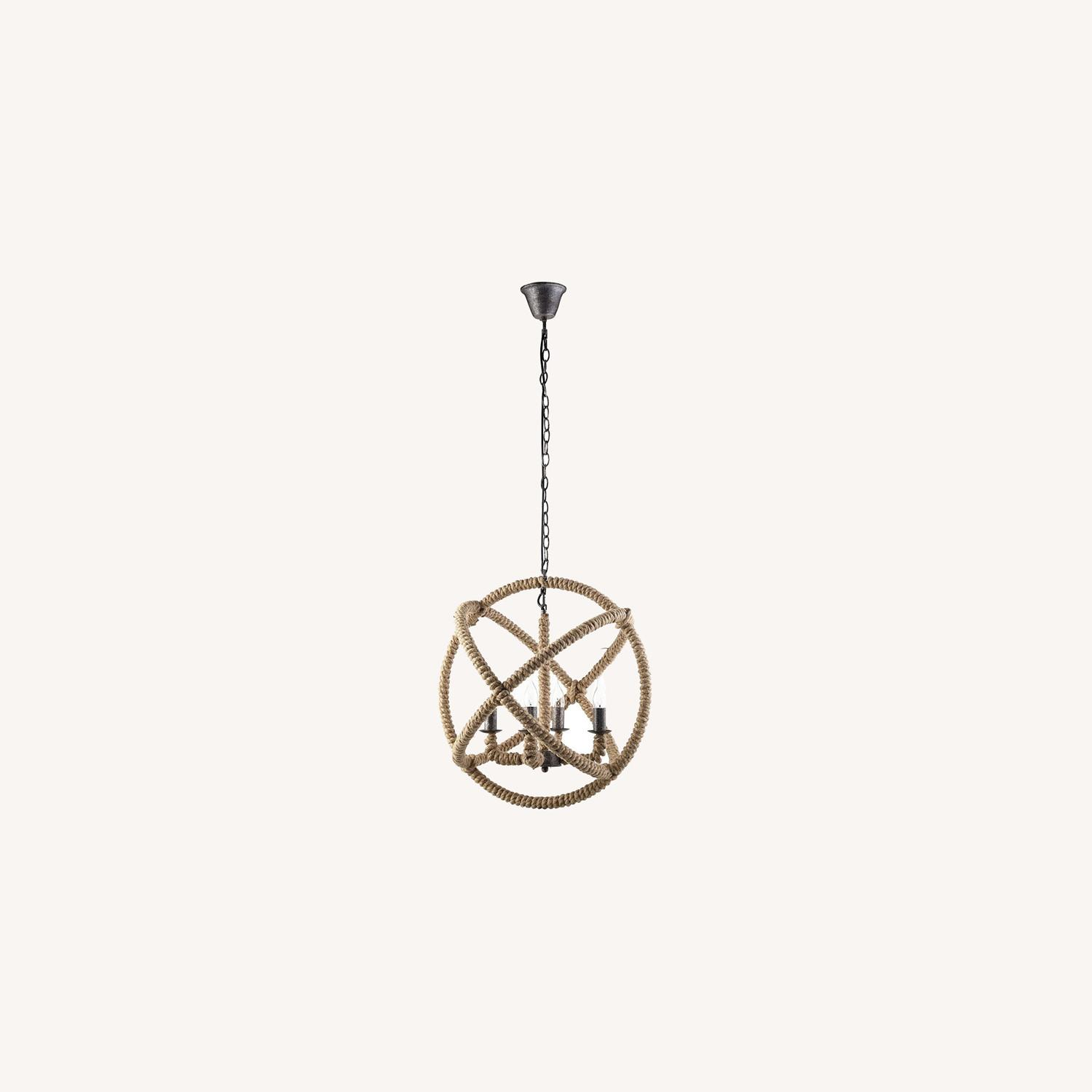 Modern Chandelier In Brown Rope Construction - image-5