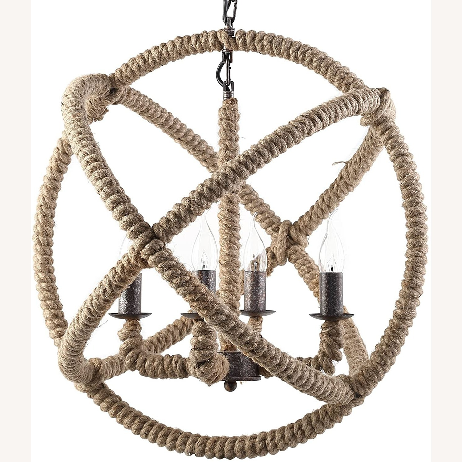 Modern Chandelier In Brown Rope Construction - image-1