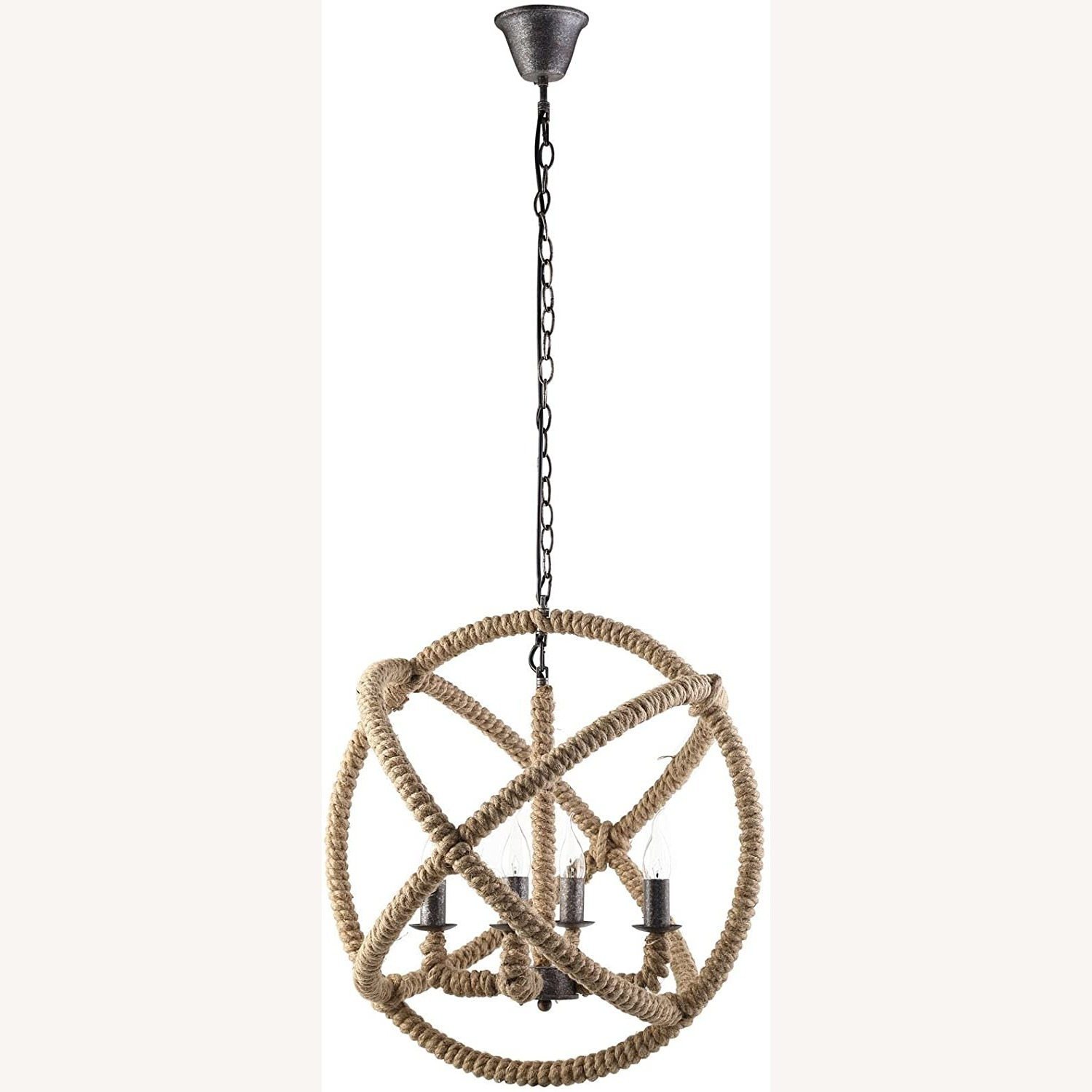 Modern Chandelier In Brown Rope Construction - image-0