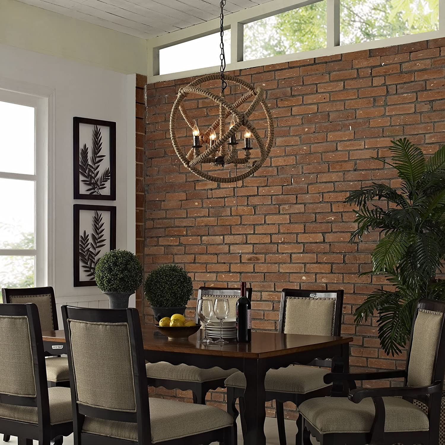 Modern Chandelier In Brown Rope Construction - image-3