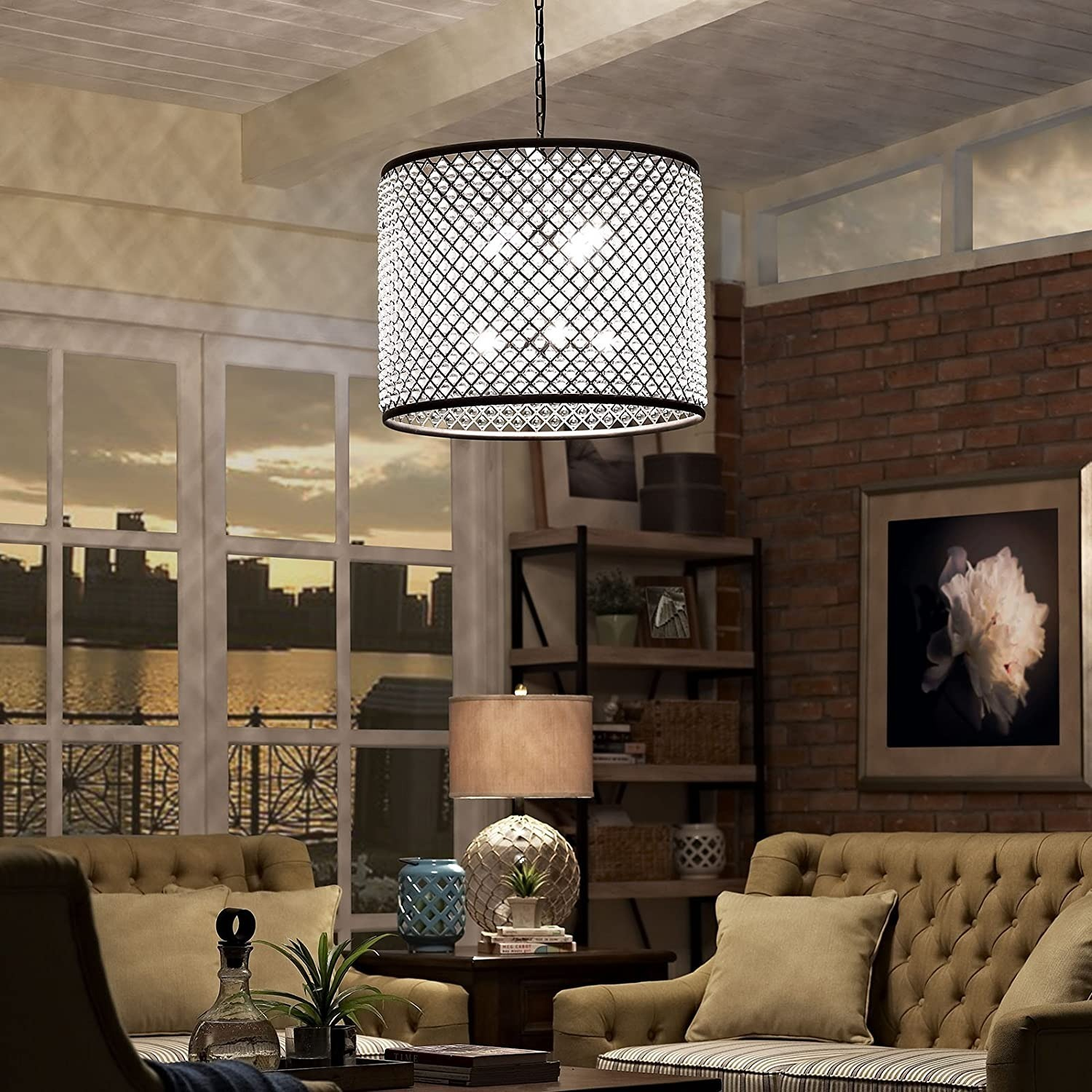 Modern Chandelier In Brown W/ Crystal Beads - image-3