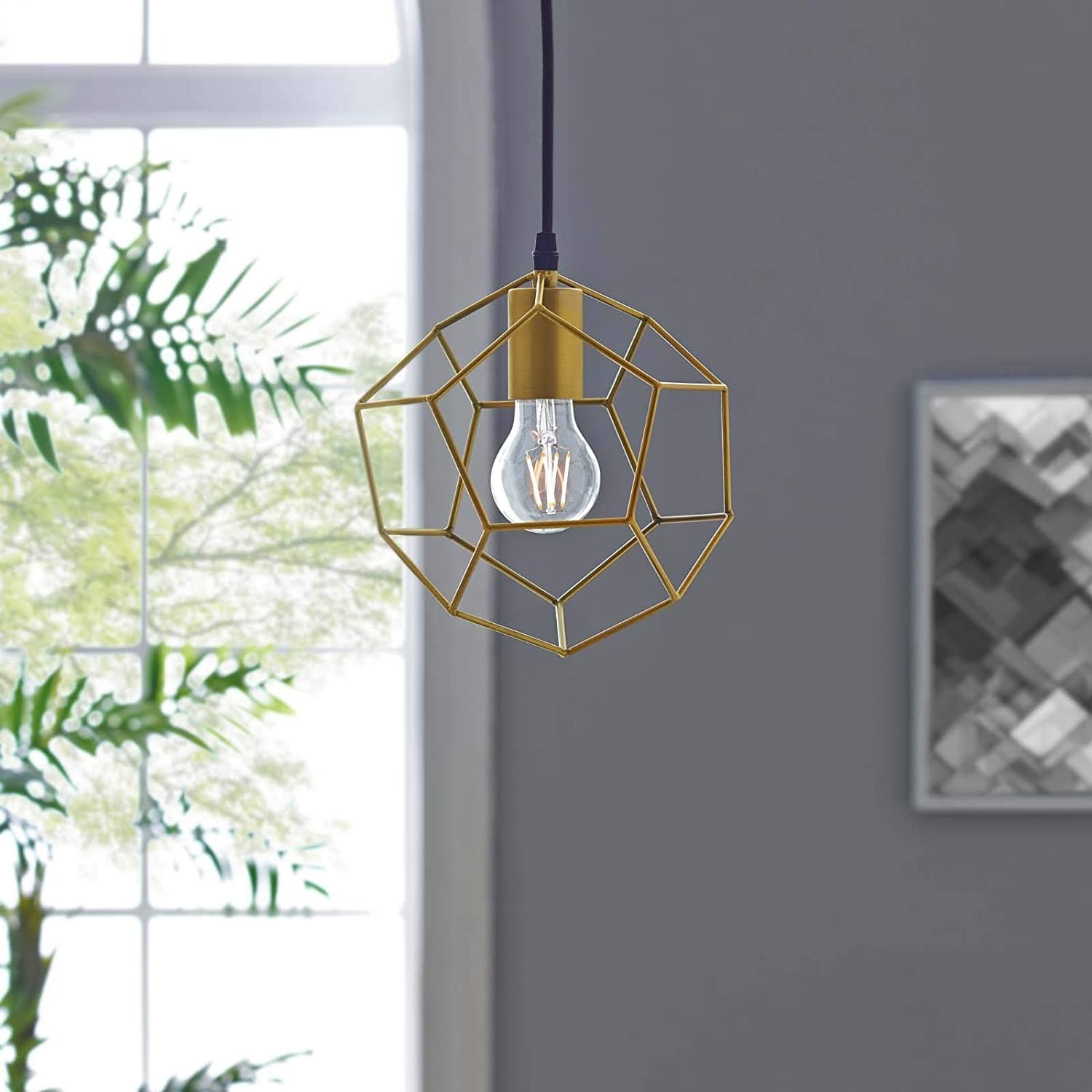 Contemporary Ceiling Lamp In Gold Metal Finish - image-3