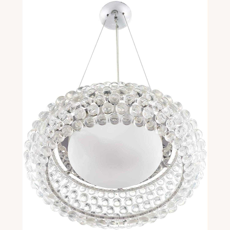 Modern Pendant Chandelier In White Glass Shade - image-1