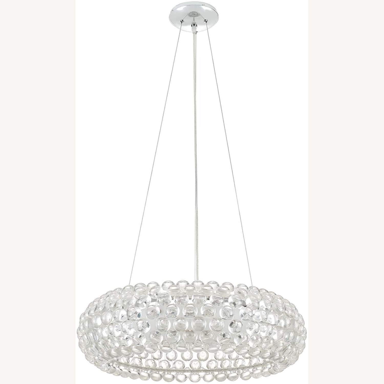 Modern Pendant Chandelier In White Glass Shade - image-0