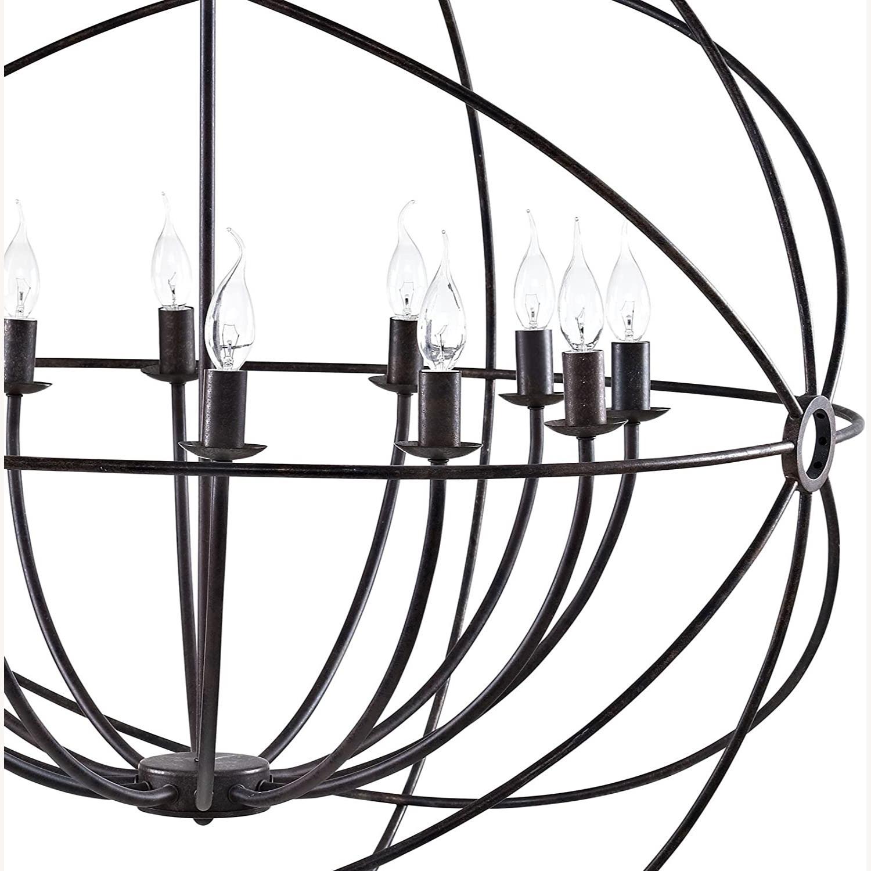 Modern Chandelier In Brown Steel Finish - image-2