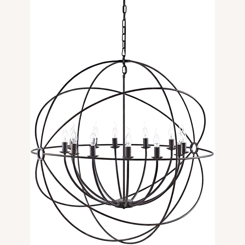 Modern Chandelier In Brown Steel Finish - image-1