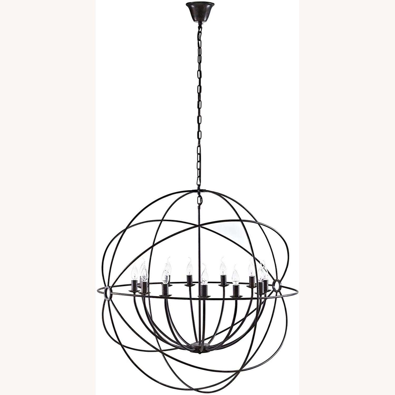 Modern Chandelier In Brown Steel Finish - image-0