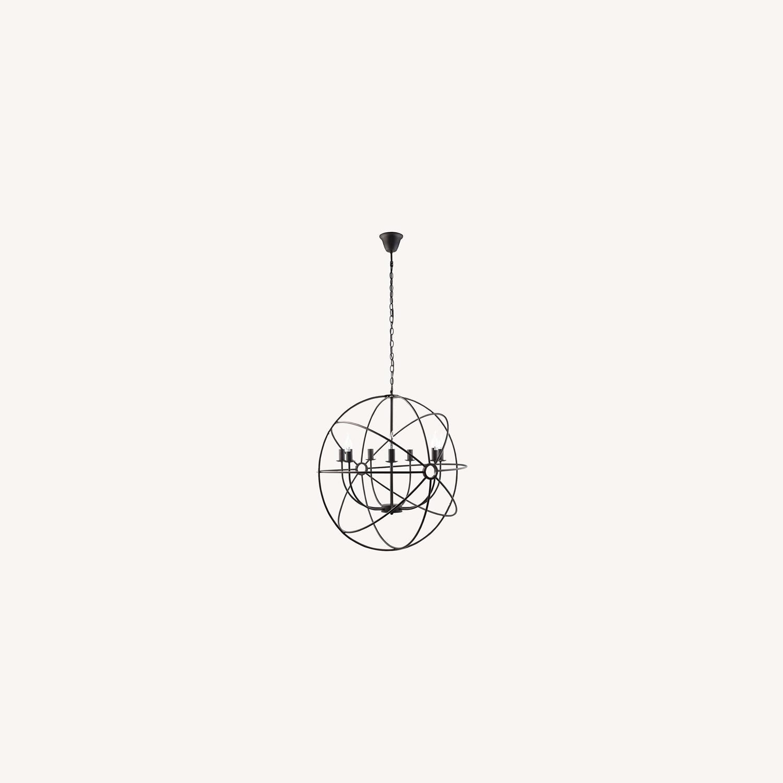 Modern Chandelier In Espresso Steel Finish - image-4