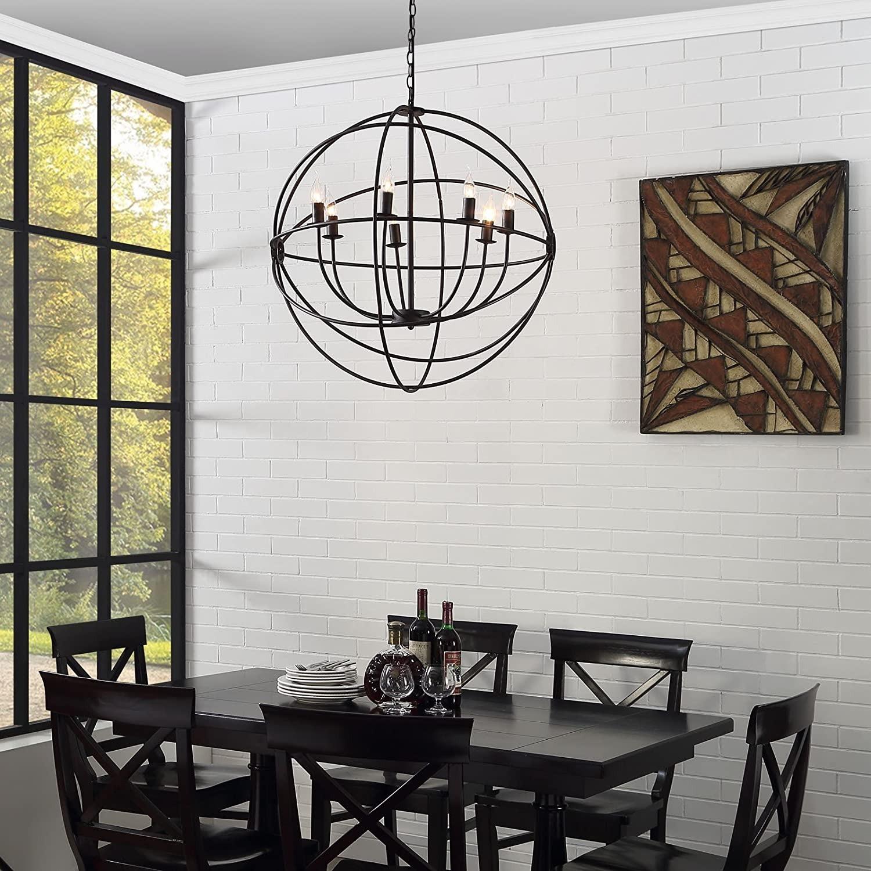 Modern Chandelier In Espresso Steel Finish - image-2
