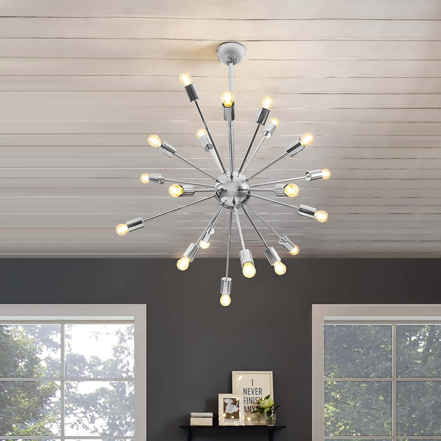 Modern Style Chandelier In Chrome-Plated Metal - image-3