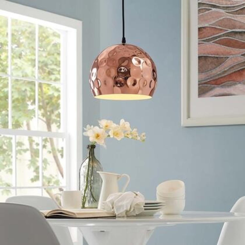 "Pendant Light In 10"" Half-Sphere Rose Gold Finish - image-4"