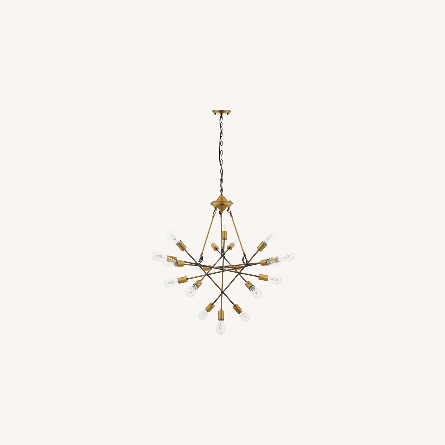 Mid-Century Style Chandelier In Antique Brass - image-5