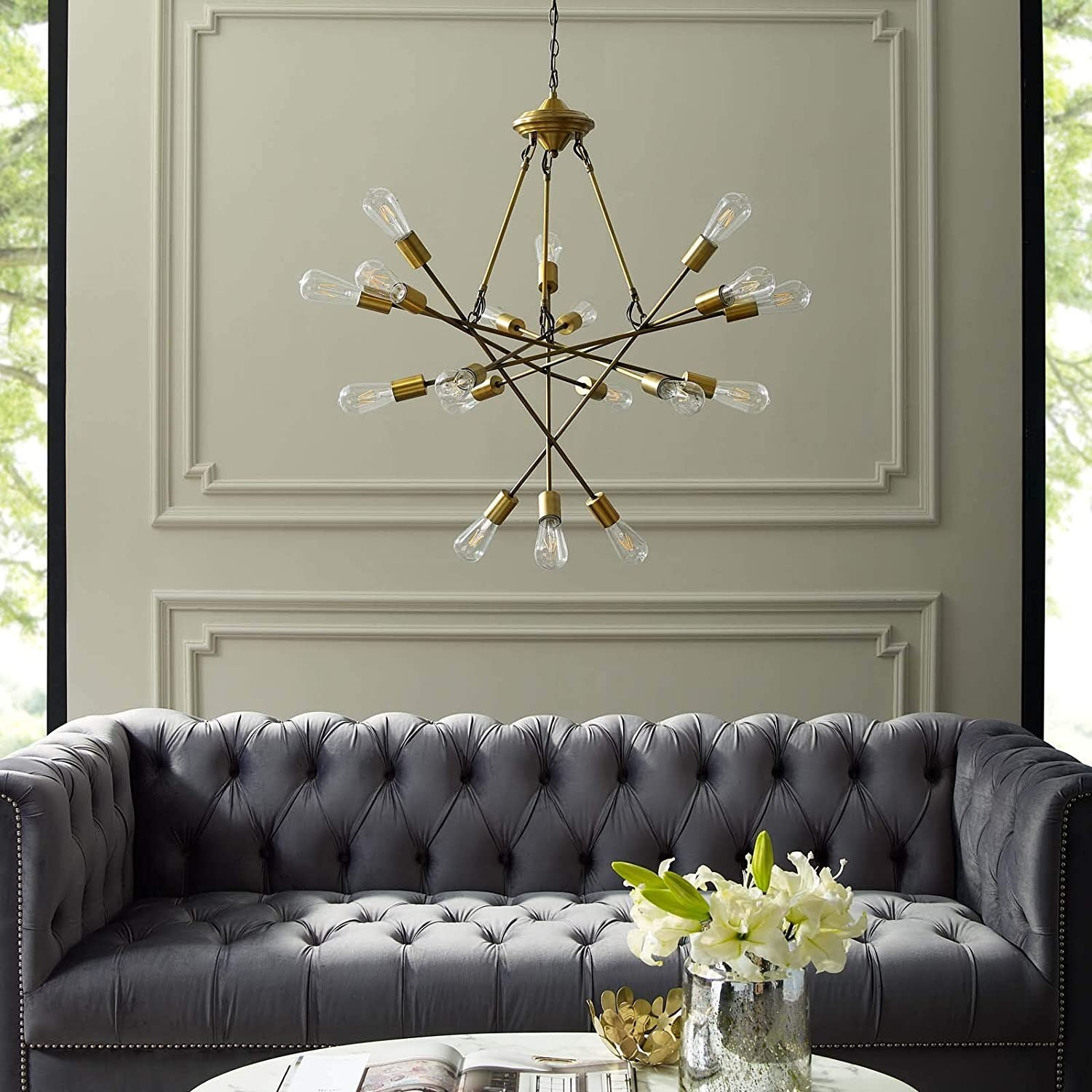 Mid-Century Style Chandelier In Antique Brass - image-2