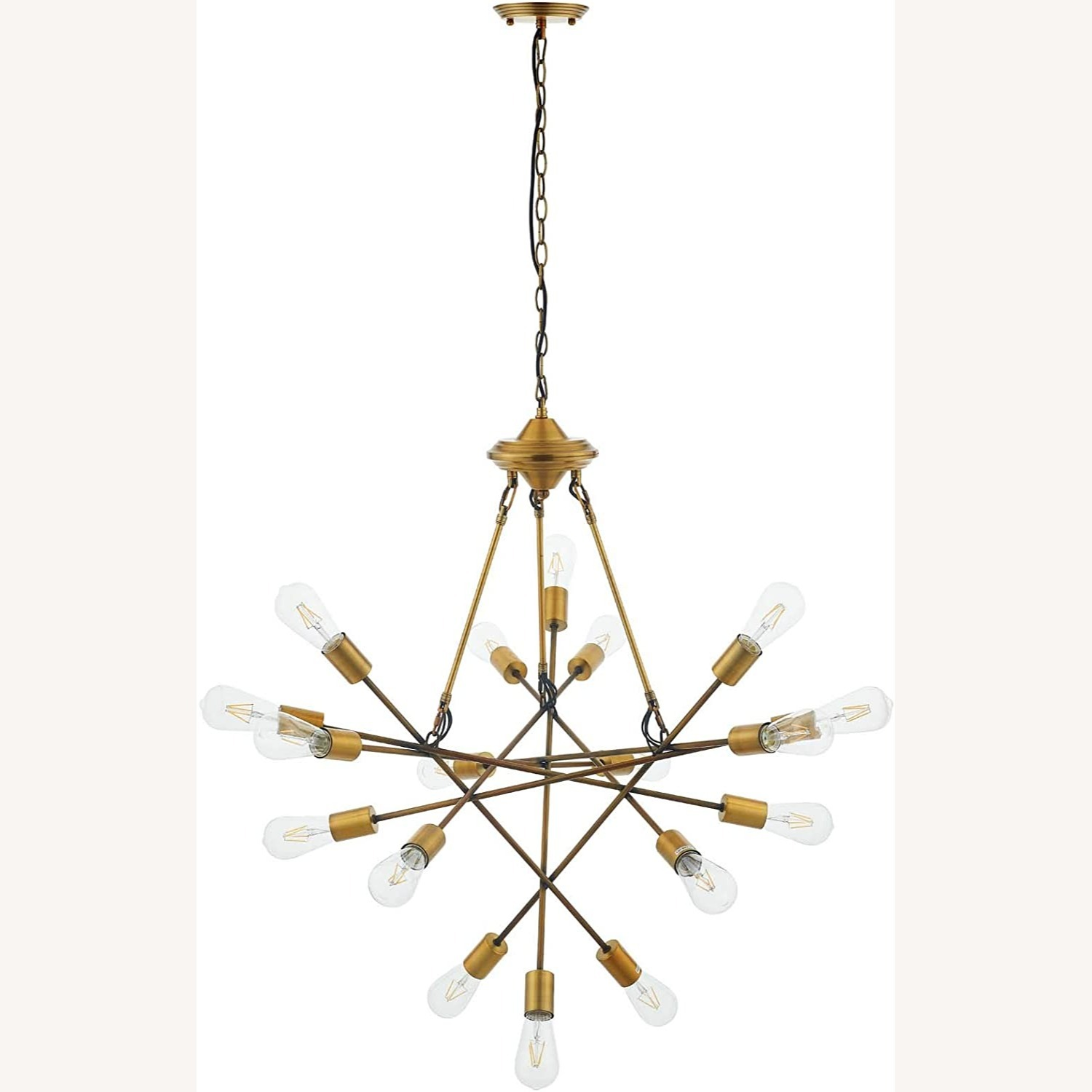 Mid-Century Style Chandelier In Antique Brass - image-0