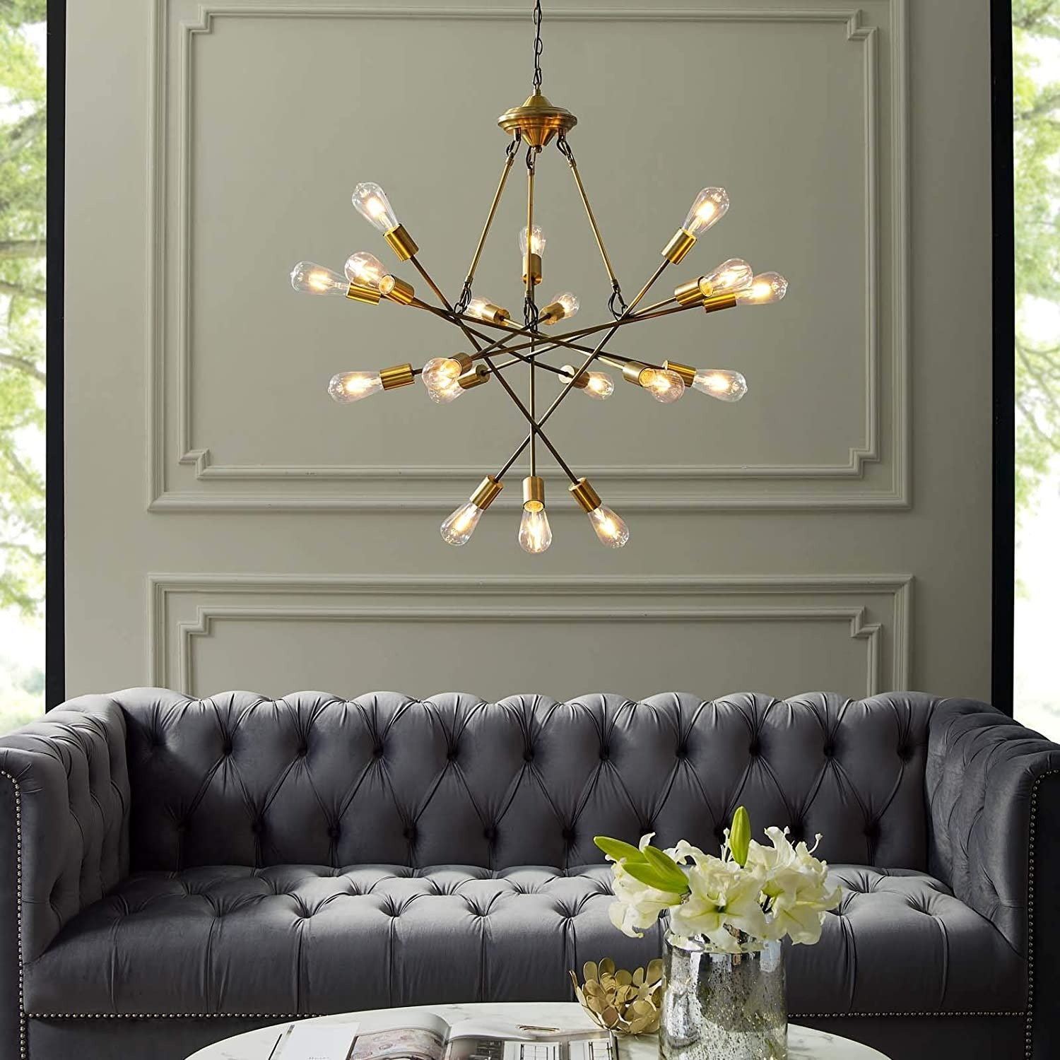 Mid-Century Style Chandelier In Antique Brass - image-1