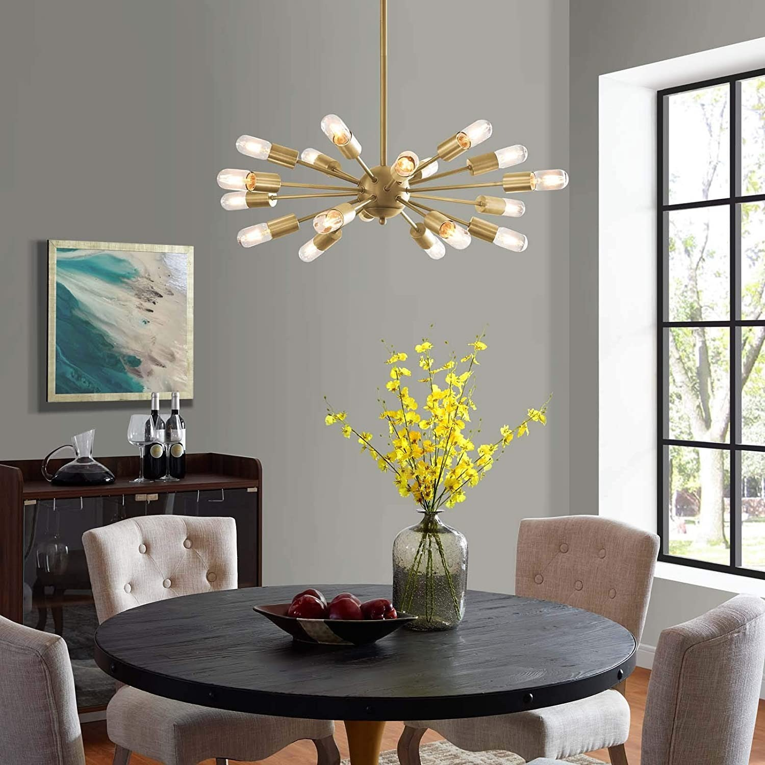 Modern Pendant Chandelier In Brass Metal Rods - image-1