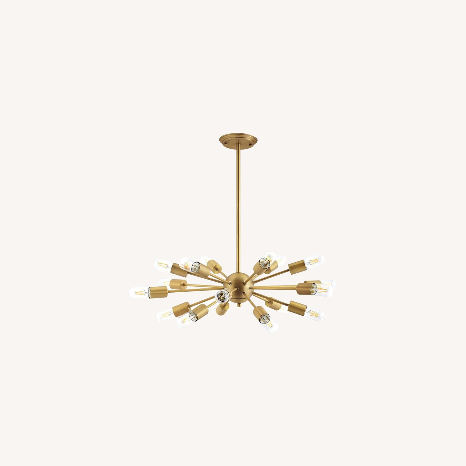 Modern Pendant Chandelier In Brass Metal Rods - image-4