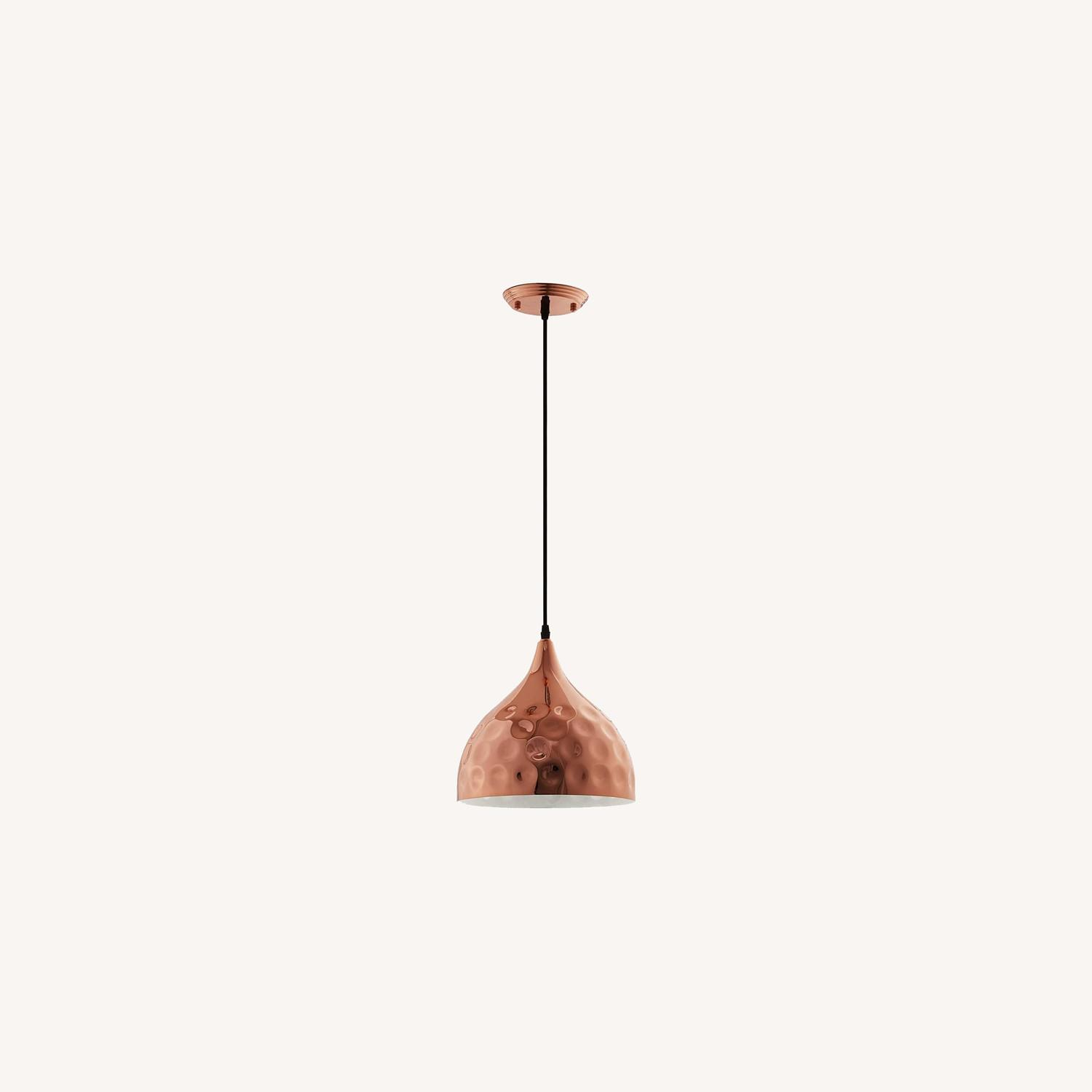 "Pendant Light In 11"" Half-Sphere Rose Gold Finish - image-5"