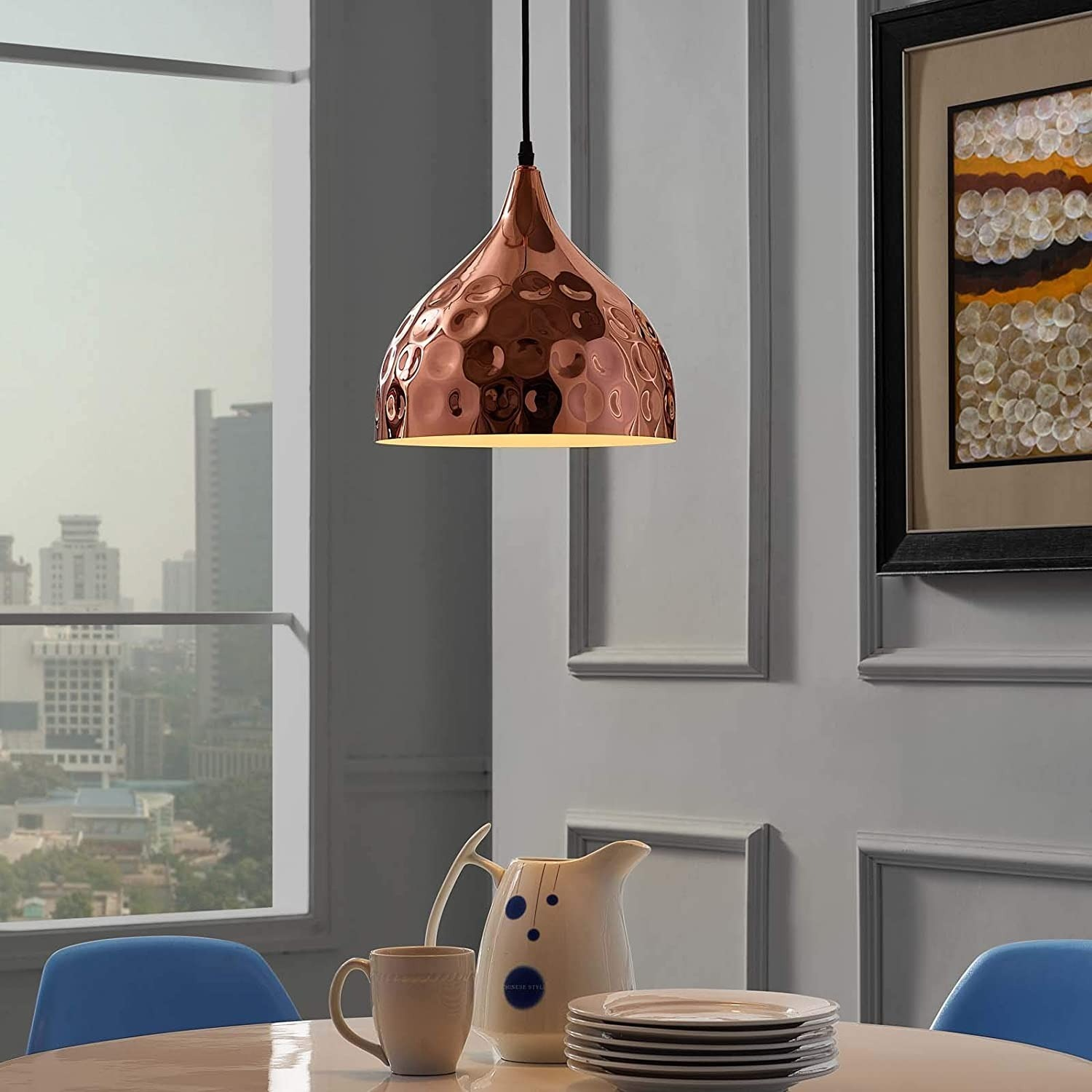 "Pendant Light In 11"" Half-Sphere Rose Gold Finish - image-4"