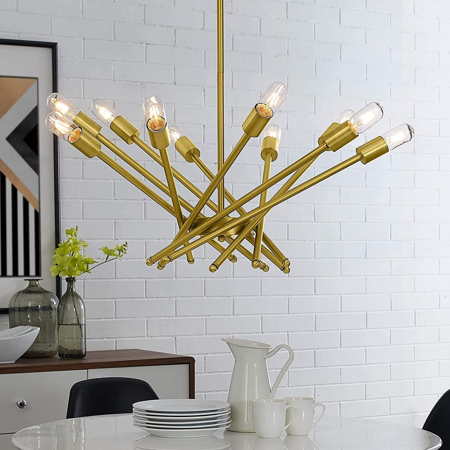 Contemporary Pendant Lamp In Brass Metal Rods - image-4