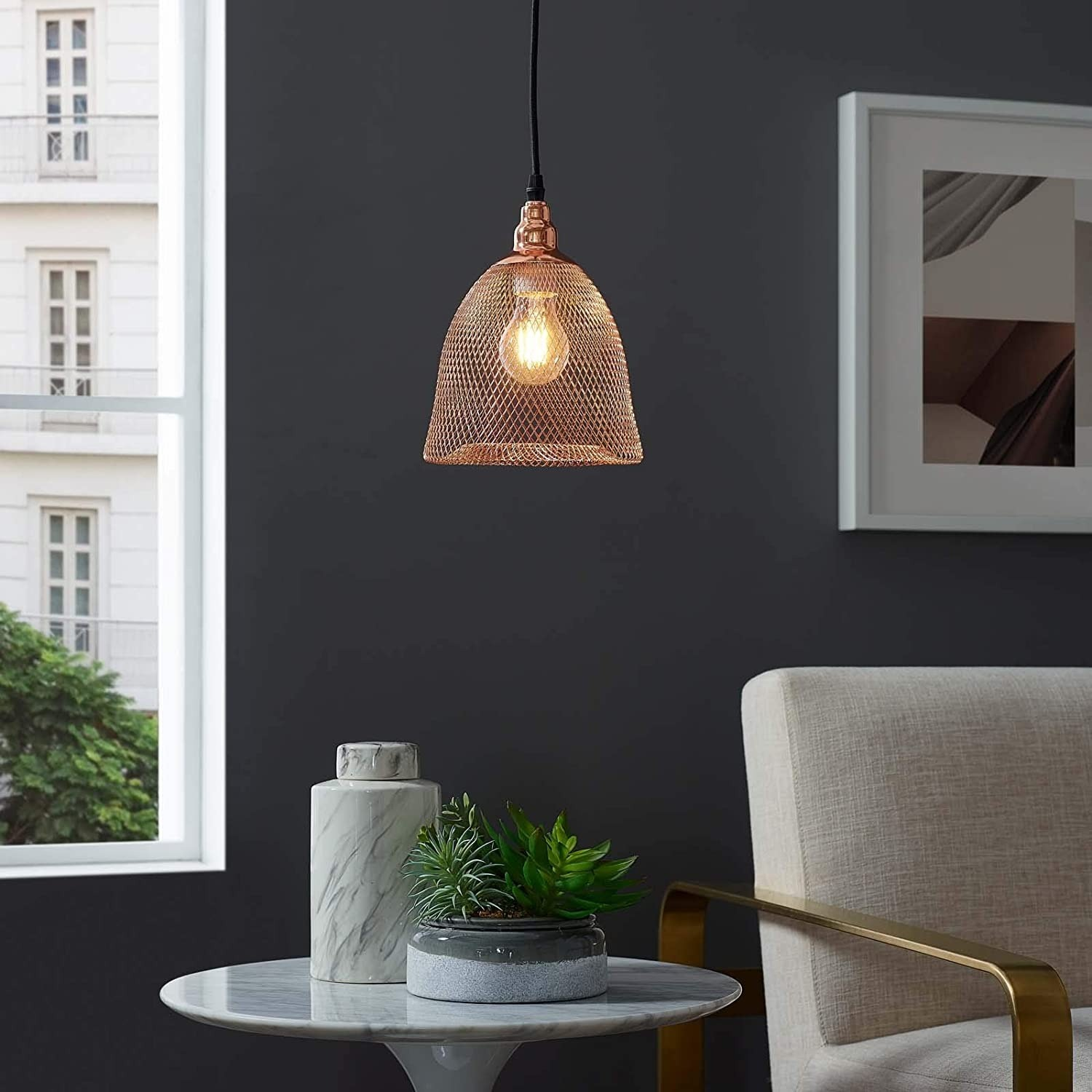 Pendant Light In Bell-Shaped Rose Gold Finish - image-3