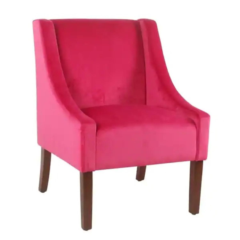 Wayfair Pink Velvet Swoop Arm Accent Chair - image-1