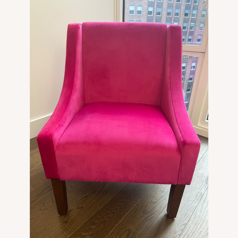 Wayfair Pink Velvet Swoop Arm Accent Chair - image-3