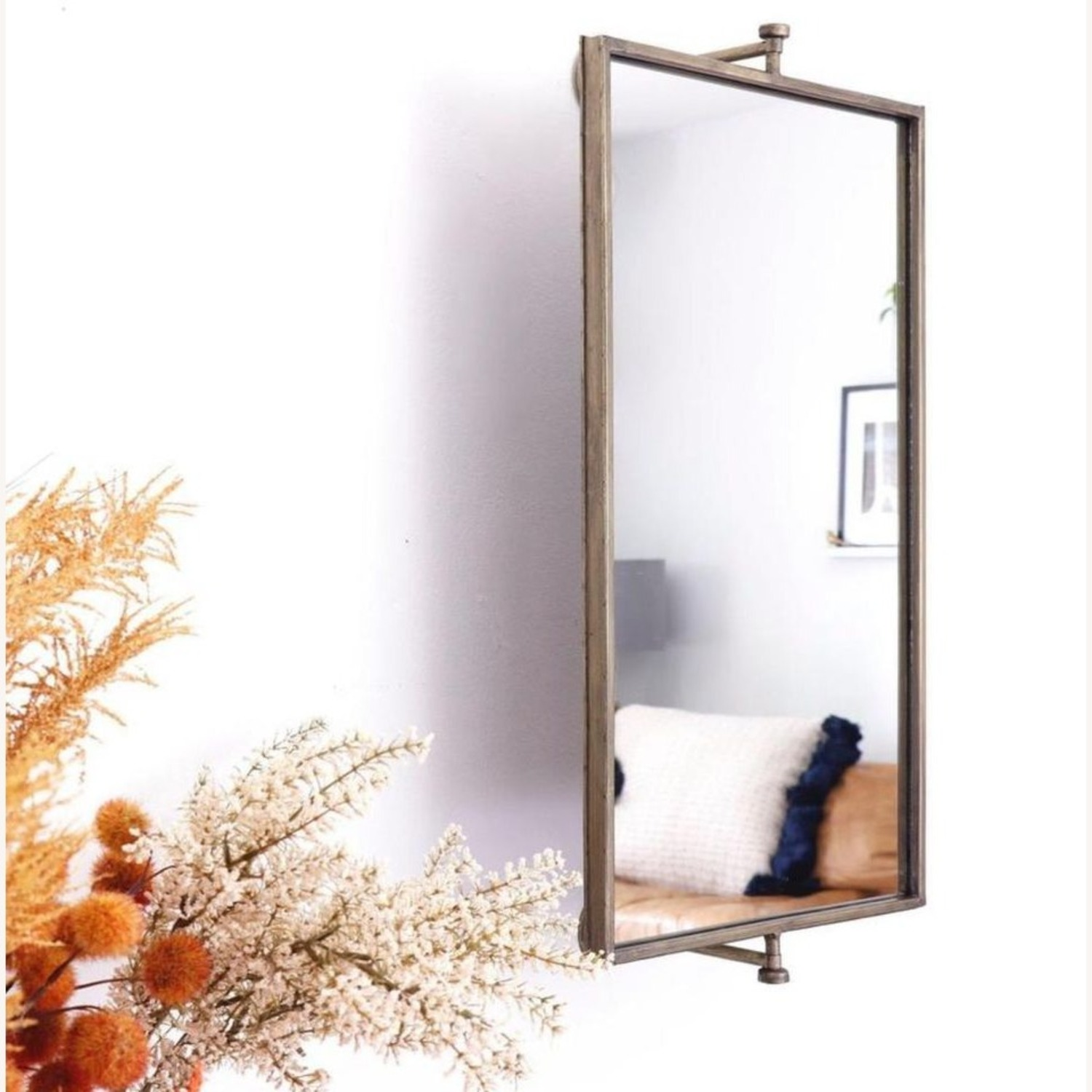 Champagne Antique Gold Rotating Mirror - image-2