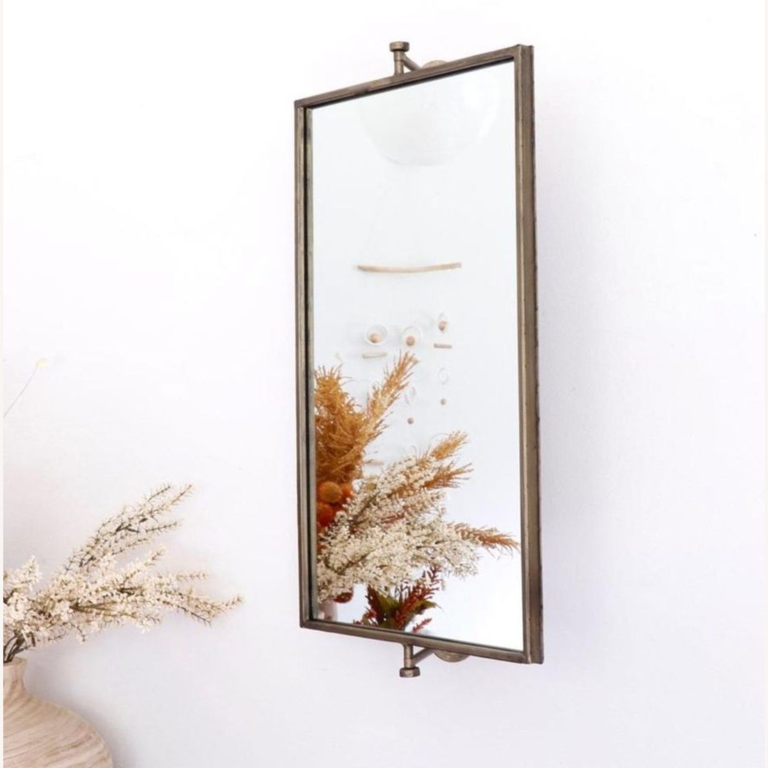 Champagne Antique Gold Rotating Mirror - image-1