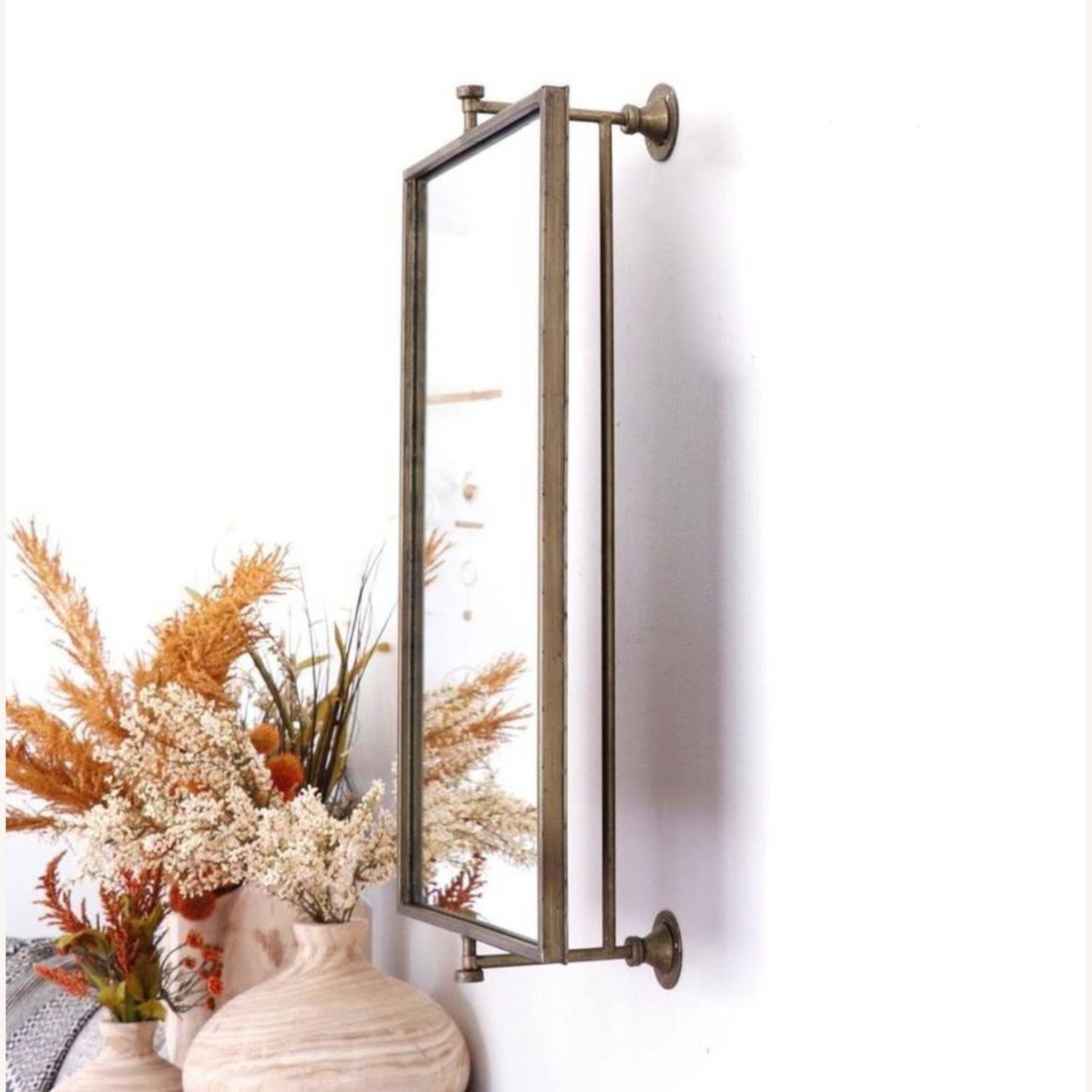 Champagne Antique Gold Rotating Mirror - image-3