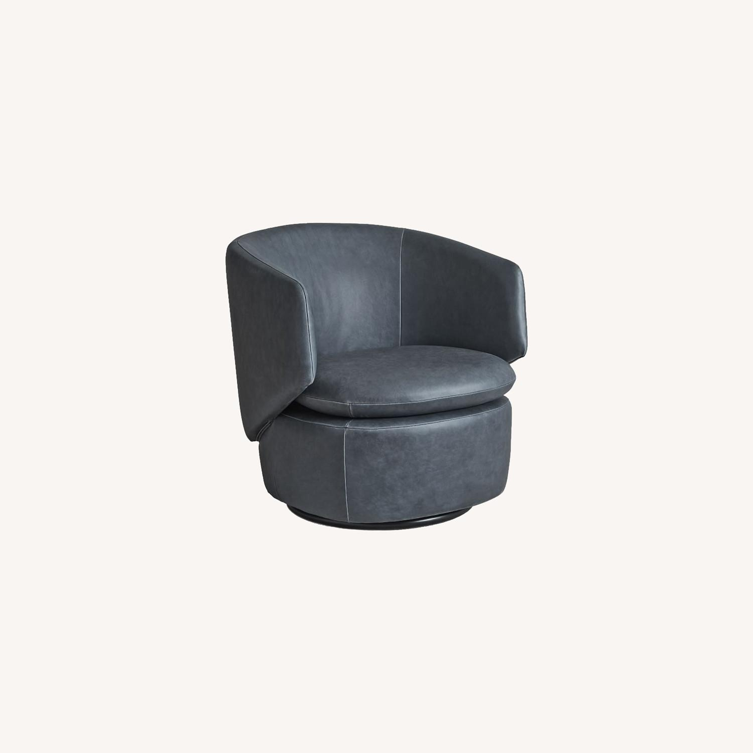 West Elm Crescent Leather Swivel Chair - image-0