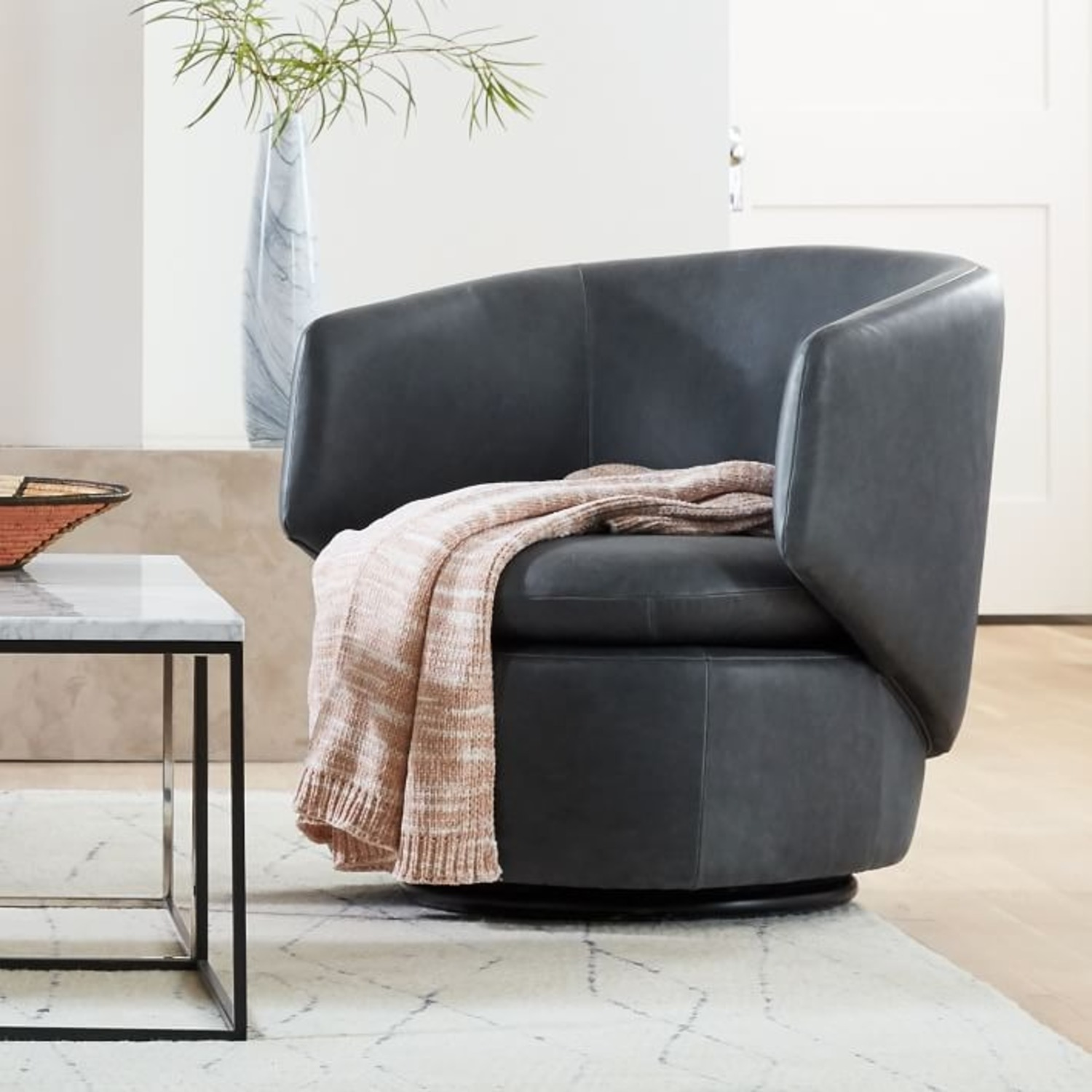 West Elm Crescent Leather Swivel Chair - image-3