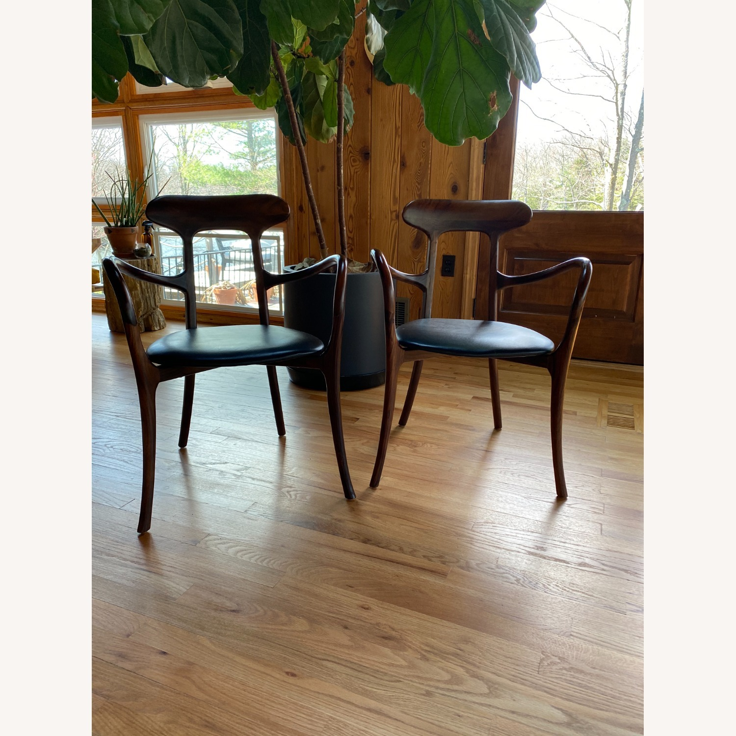 Mid-Century Inspired Rosewood and leather chairs - image-2