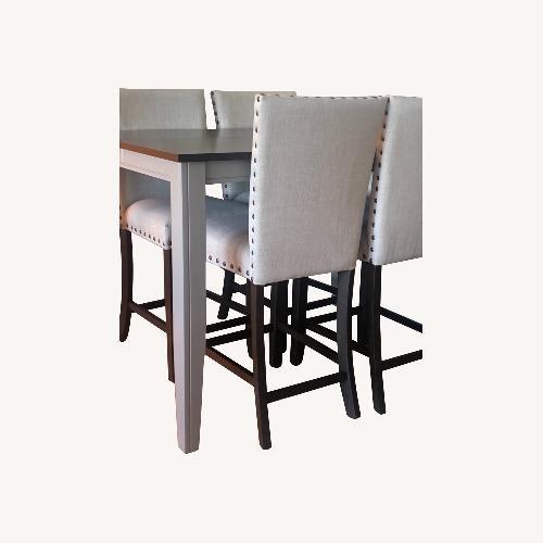 Used Farmhouse Wood Counter Table Set for sale on AptDeco