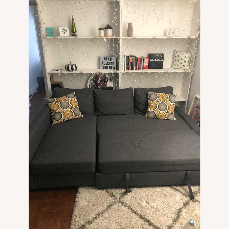 IKEA Dark Grey Pull Out Sofa - image-1