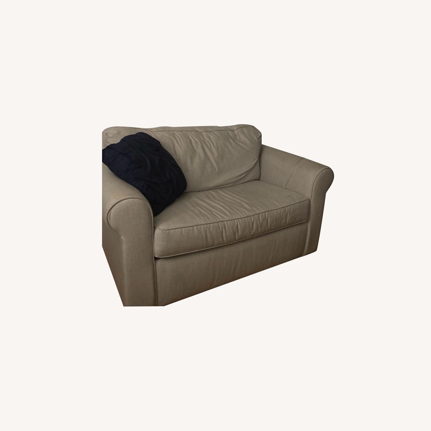 West Elm Dove Gray Pull out Loveseat - image-0