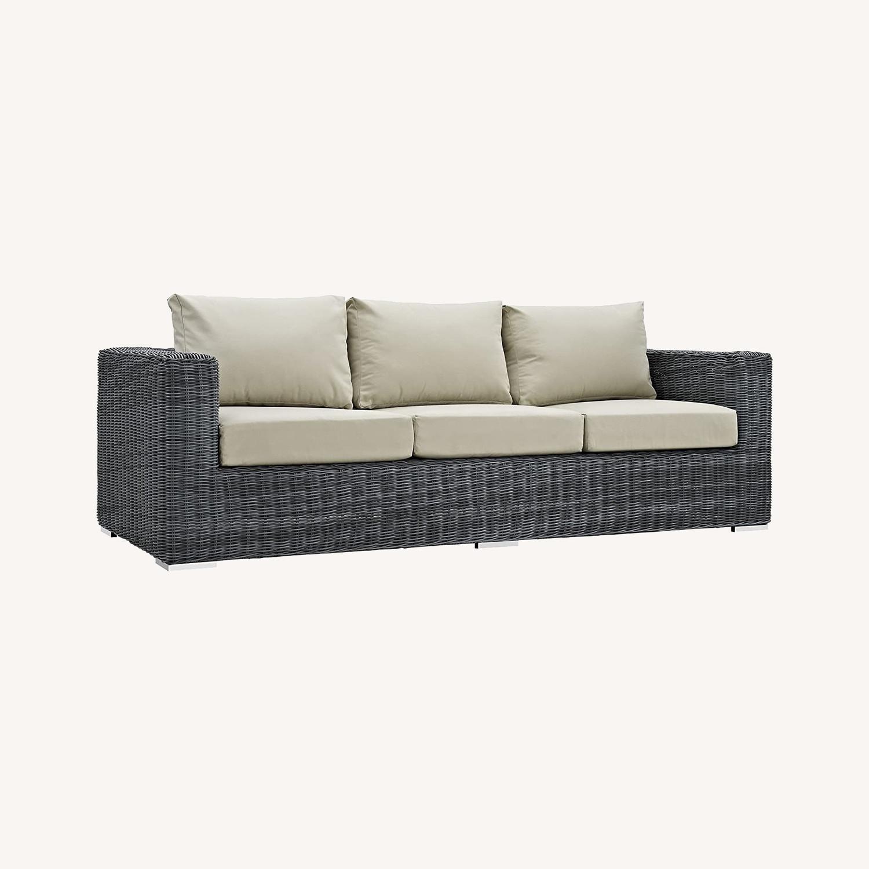 Outdoor Patio Sofa In Antique Beige Cushion Finish - image-6
