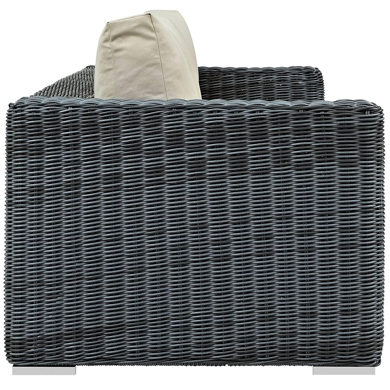 Outdoor Patio Sofa In Antique Beige Cushion Finish - image-2