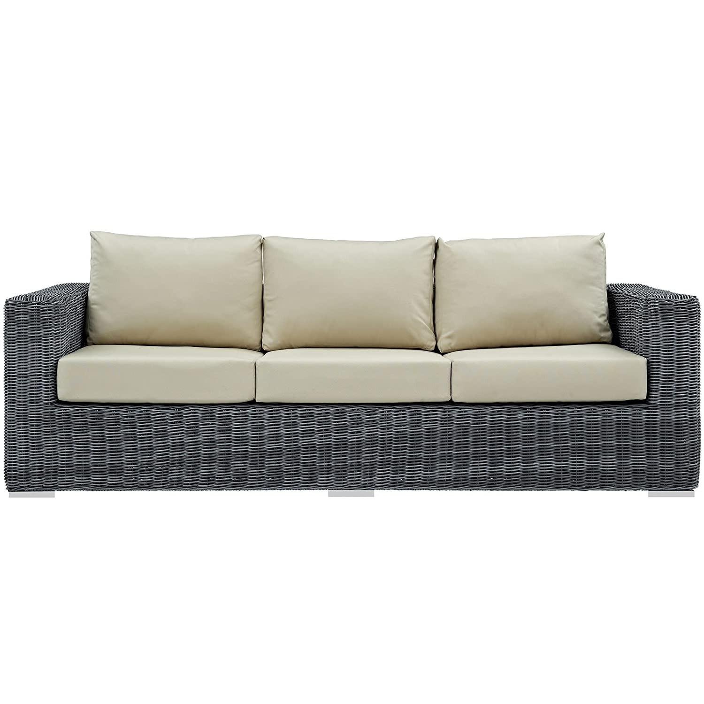 Outdoor Patio Sofa In Antique Beige Cushion Finish - image-1
