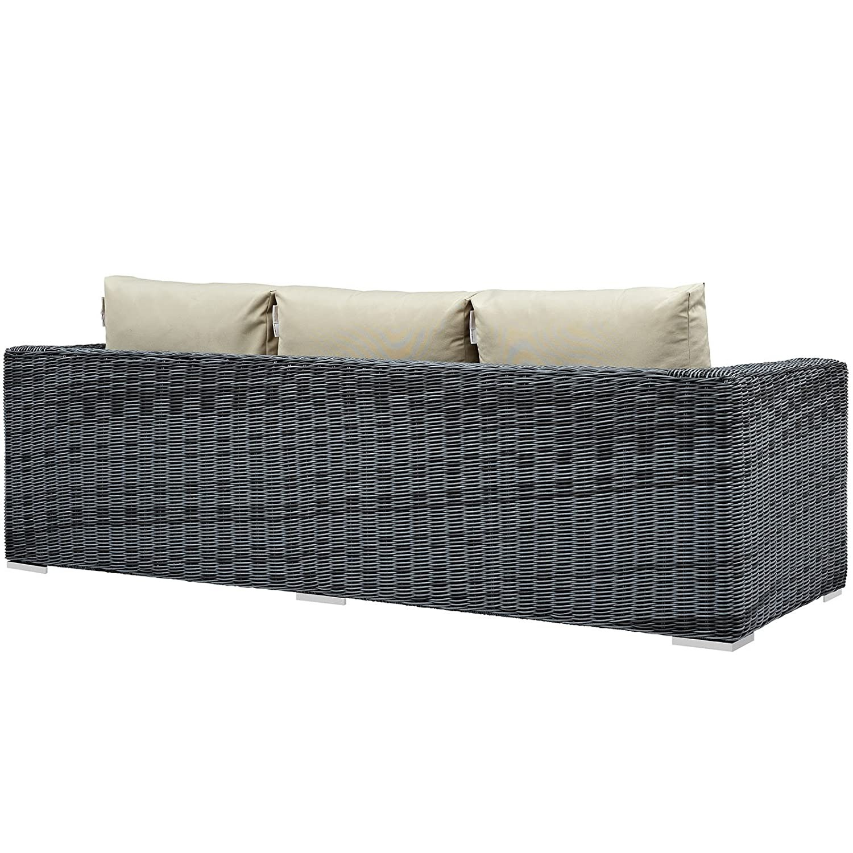Outdoor Patio Sofa In Antique Beige Cushion Finish - image-3
