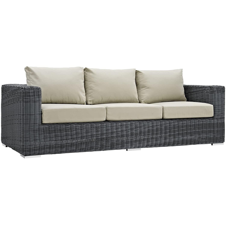 Outdoor Patio Sofa In Antique Beige Cushion Finish - image-0