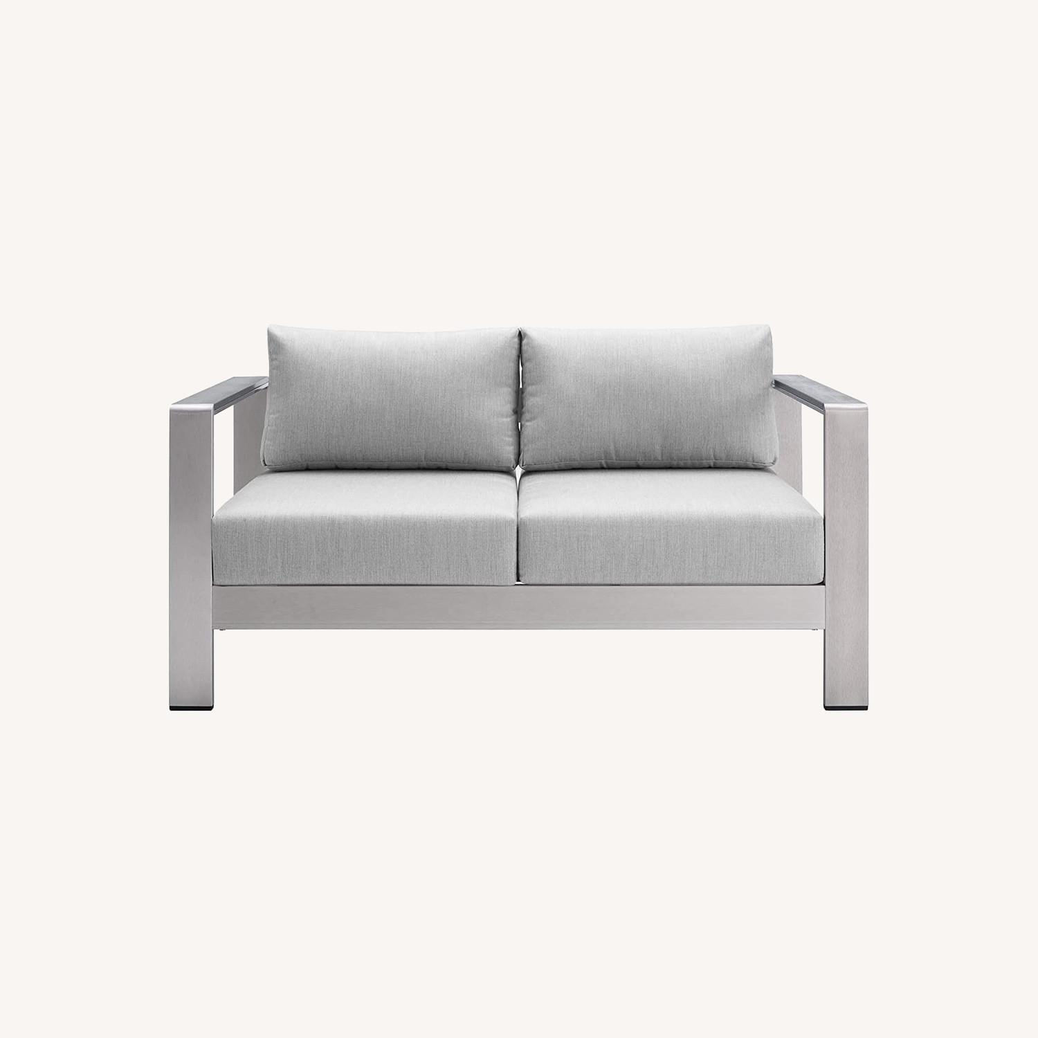 Outdoor Loveseat In Silver Aluminum Frame Finish - image-8